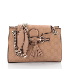 Gucci Emily Chain Flap Shoulder Bag Guccissima Leather Small Neutral