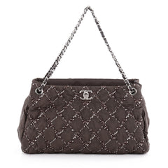 Chanel Tweed on Stitch Tote Quilted Nylon Large Gray