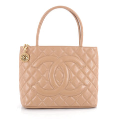 Chanel Medallion Tote Quilted Caviar Neutral