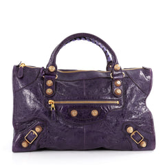 Balenciaga Work Giant Studs Handbag Leather Purple