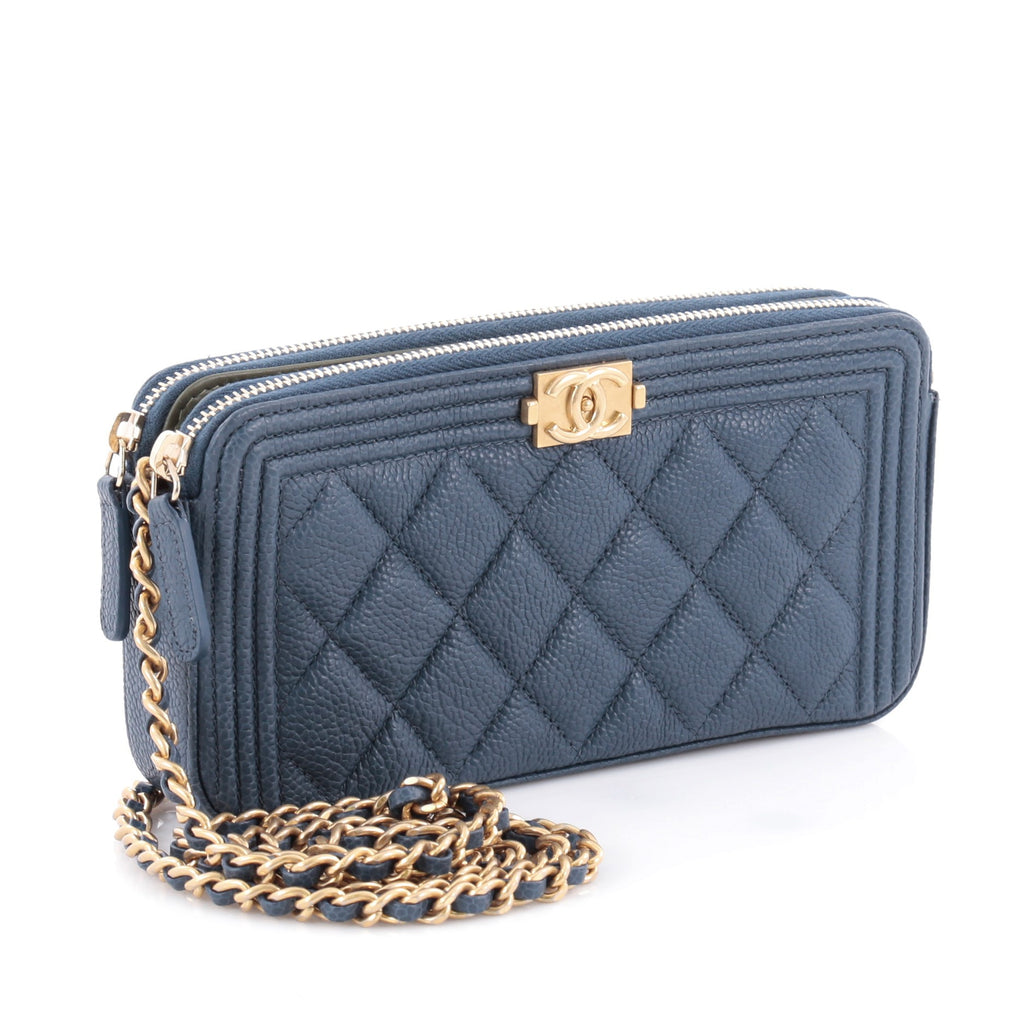 Buy Chanel Boy Double Zip Around Wallet on Chain Quilted ...
