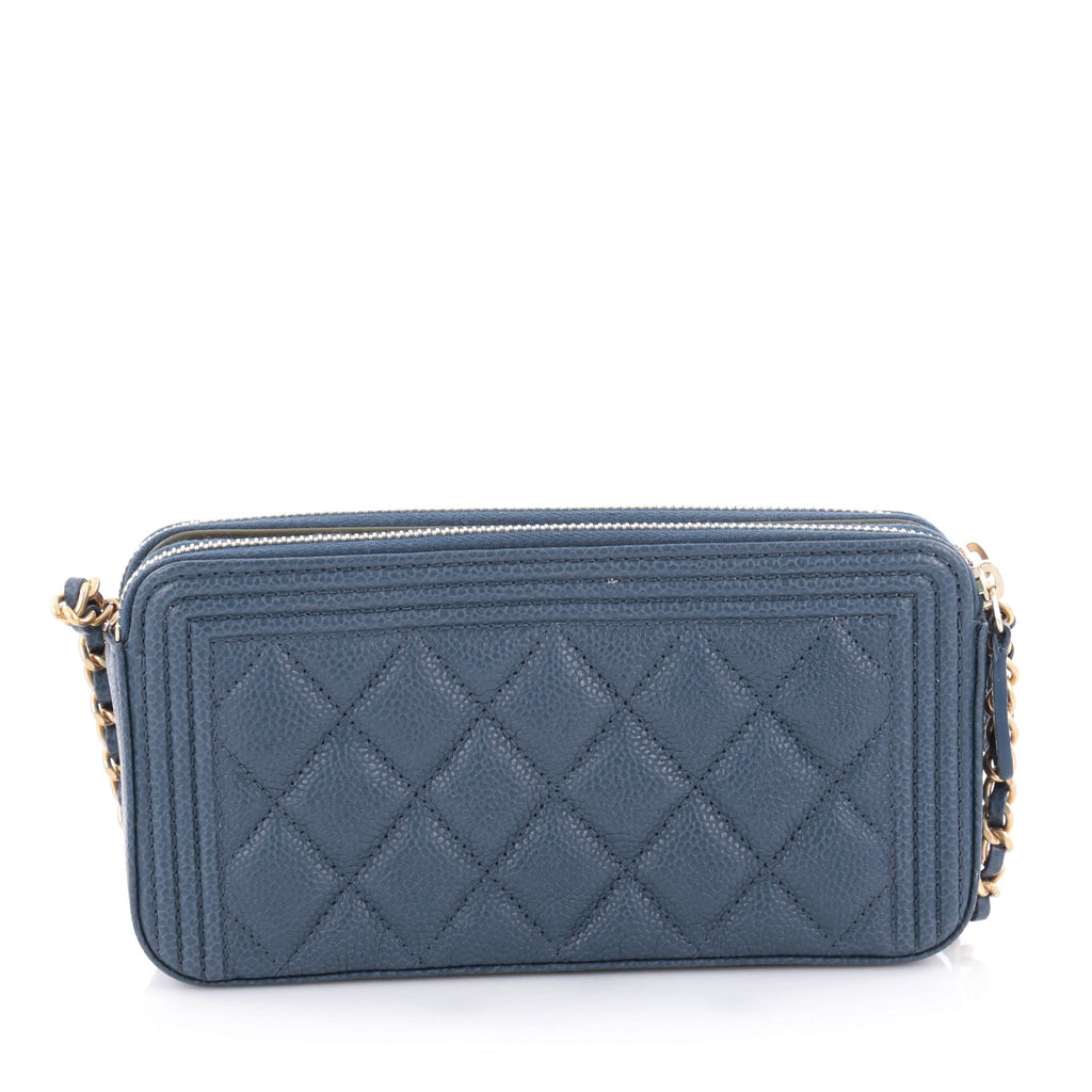 e586e28b232 Buy Chanel Boy Double Zip Around Wallet on Chain Quilted .