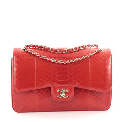 Chanel Classic Double Flap Bag Python Jumbo Red