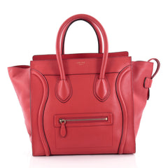 Celine Luggage Handbag Grainy Leather Mini Red 2118701