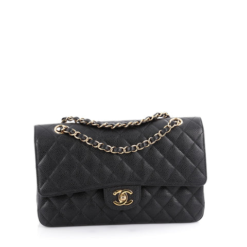 85f92f6fac16 Buy Chanel Vintage Classic Double Flap Bag Quilted Caviar 2119001 – Rebag