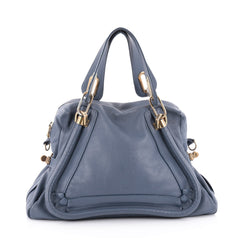 Chloe Paraty Top Handle Bag Leather Medium Blue 2121604