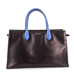 Balenciaga Padlock Nude Work Tote Calfskin with Python Small Black 2122301