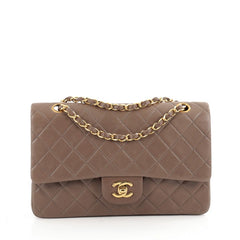 Chanel Vintage Classic Double Flap Bag Quilted Lambskin Medium Neutral