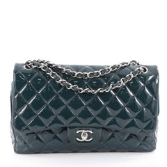 Chanel Classic Double Flap Bag Quilted Patent Jumbo Blue