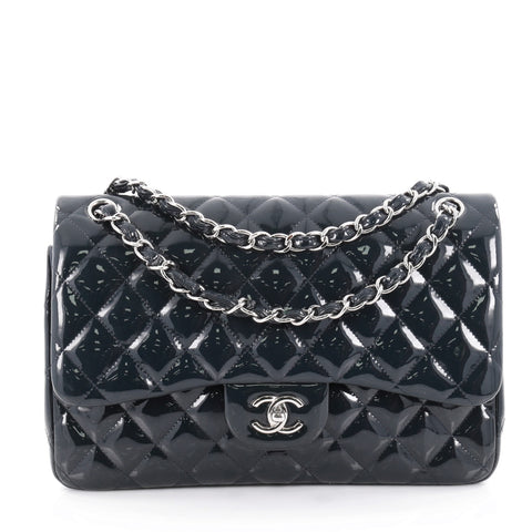 b03219ad255456 Buy Chanel Classic Double Flap Bag Quilted Patent Jumbo Blue 2127906 – Rebag