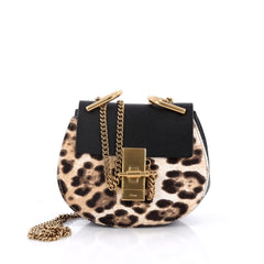 Chloe Drew Crossbody Bag Calf Hair Nano Black 2129402