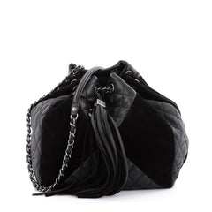 Chanel Patchwork Drawstring Bag Quilted Leather and Suede Small Black