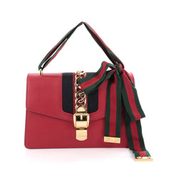 Gucci Sylvie Shoulder Bag Leather Red 2132002