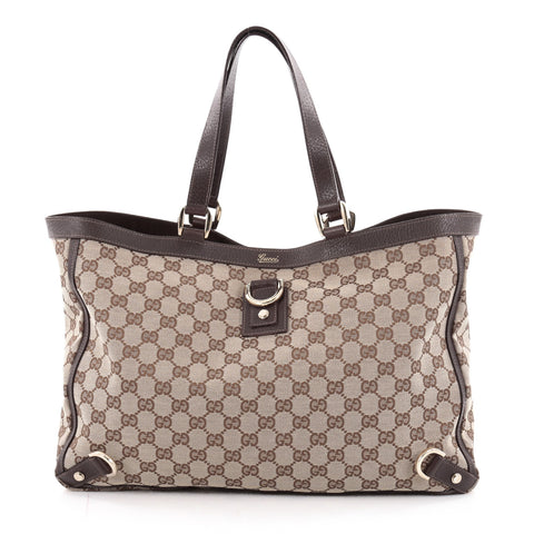 10c7fbf9cf5 Buy Gucci Abbey D Ring Tote GG Canvas Large Brown 2132102 – Rebag