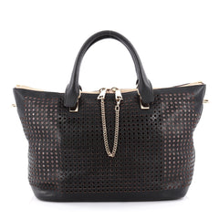 Chloe Baylee Satchel Perforated Leather Medium Black 2136801