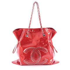 Chanel Bon Bon Tote Strass Embellished Patent Large Red
