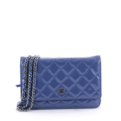 Chanel Wallet on Chain Quilted Patent Blue