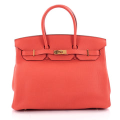 Hermes Birkin Handbag Red Togo with Gold Hardware 35 Red 2142301