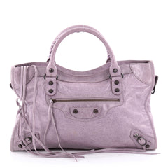 Balenciaga City Classic Studs Handbag Leather Medium Purple 2142402