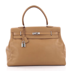 Hermes Kelly Relax Handbag Brown Swift with Palladium 2142602