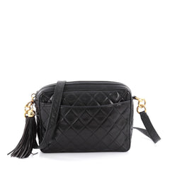 Chanel Vintage Camera Tassel Bag Quilted Leather Small Black