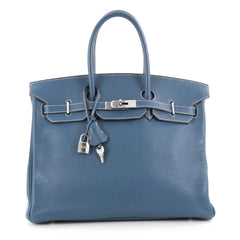 Hermes Birkin Handbag Blue Clemence with Palladium 2145904