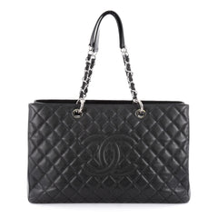 Chanel Grand Shopping Tote Quilted Caviar XL Black
