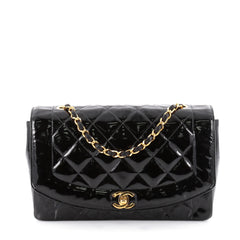 Chanel Vintage Diana Flap Bag Quilted Patent Medium Black