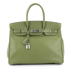 Hermes Birkin Handbag Green Swift with Palladium Hardware 35 Green 2154301