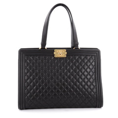 Chanel Boy Shopping Tote Quilted Lambskin Large Black
