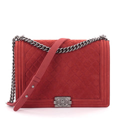 Chanel Boy Flap Bag Quilted Matte Caviar Large Red