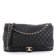 Chanel Airlines CC Flap Bag Quilted Calfskin XXL Black