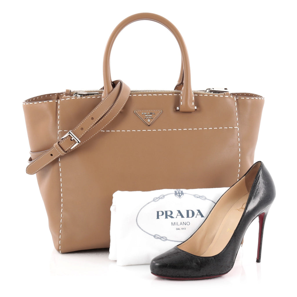 ca4c4aa01106 Buy Prada Twin Pocket Tote Stitched City Calfskin Medium 2157201 – Rebag