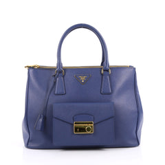Prada Front Pocket Double Zip Lux Tote Saffiano Leather Medium Blue 2161601