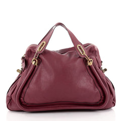 Chloe Paraty Top Handle Bag Leather Large Red 2162705