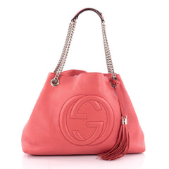 Gucci Soho Shoulder Bag Chain Strap Leather Medium Pink
