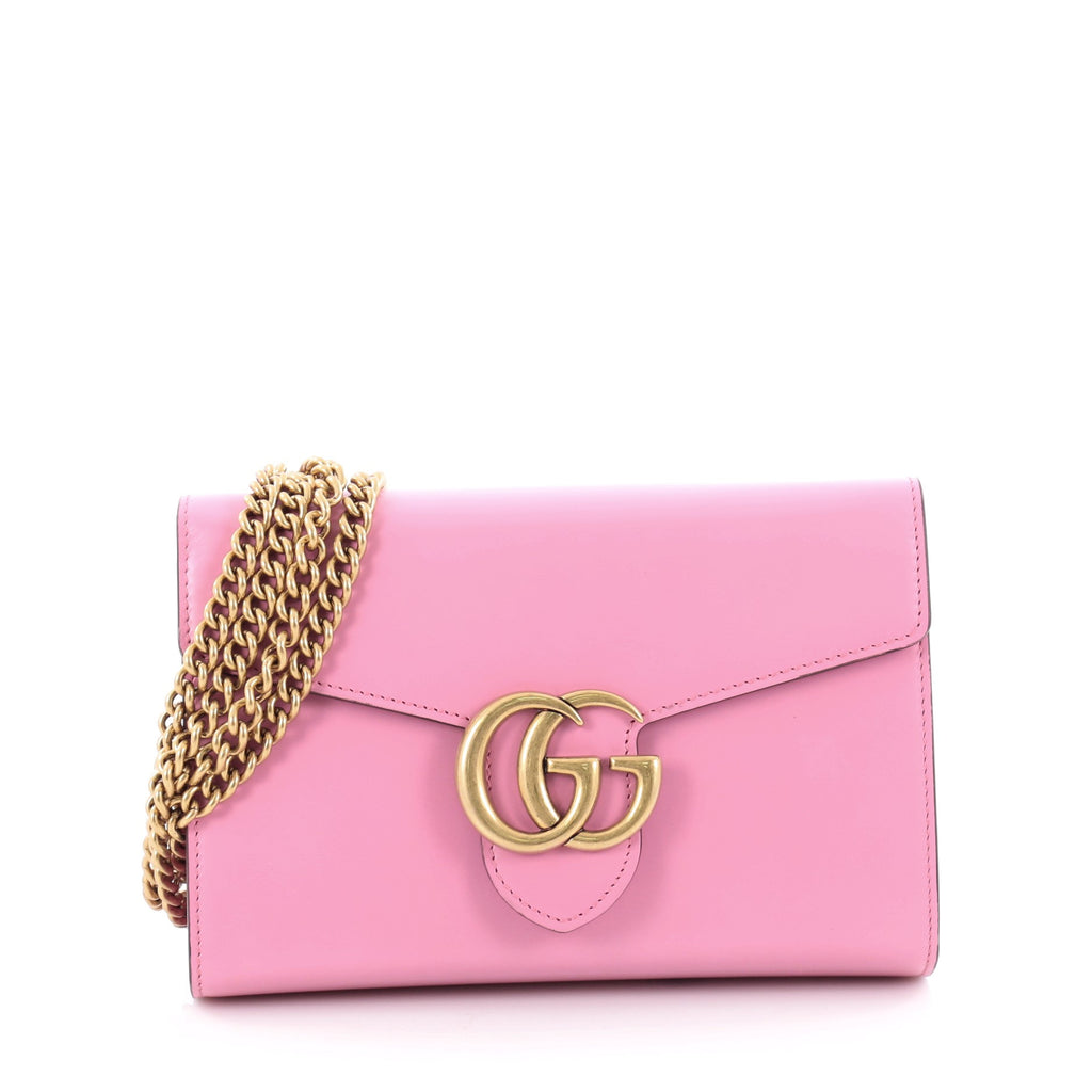 19a2b4efc792 Buy Gucci GG Marmont Chain Wallet Leather Mini Pink 2169202 – Rebag
