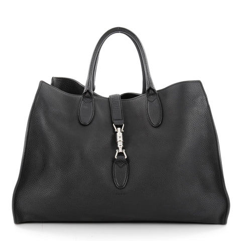 d5735ff153d353 Buy Gucci Jackie Soft Tote Leather Large Black 2172401 – Rebag