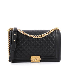 Chanel Boy Flap Bag Quilted Lambskin New Medium Black