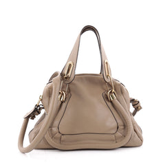 Chloe Paraty Top Handle Bag Leather Small Neutral 2182002