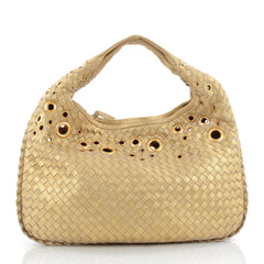 Bottega Veneta Veneta Hobo Intrecciato Leather with Grommet Detail Medium Gold 2182904