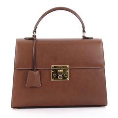 Gucci Padlock Top Handle Bag Leather Medium Brown 2185102