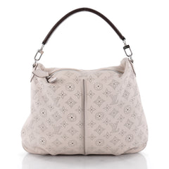 Louis Vuitton Selene Handbag Mahina Leather PM Gray
