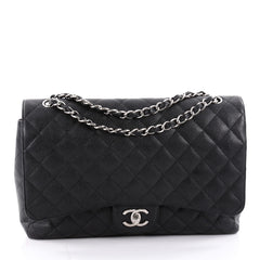 Chanel Classic Double Flap Bag Quilted Caviar Maxi Black