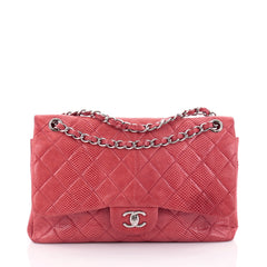 Chanel Classic Double Flap Bag Quilted Lizard Jumbo Red