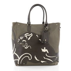 Valentino Panther Tote Canvas with Leather Green 2186901