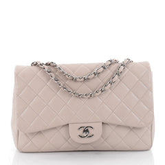 Chanel Classic Single Flap Bag Quilted Caviar Jumbo Neutral