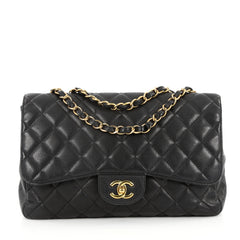 Chanel Classic Single Flap Bag Quilted Caviar Jumbo Black