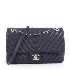 Chanel Double Stitch Flap Bag Chevron Lambskin Jumbo Blue