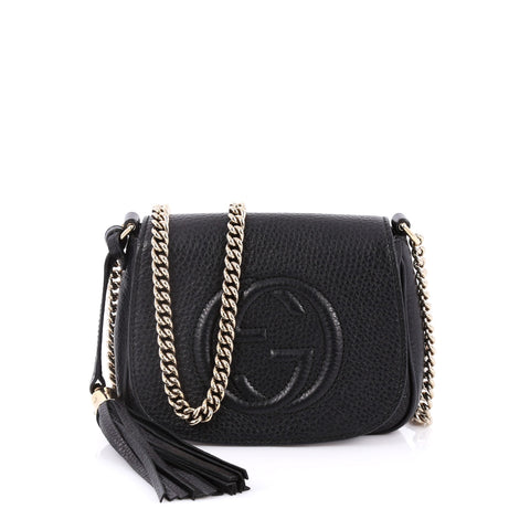 6628825a5a6f33 Buy Gucci Soho Chain Strap Crossbody Bag Leather Small Black 2187401 – Rebag